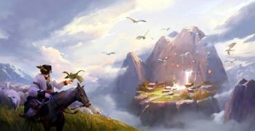 фэнтези, драконы, всадник, овцы, дракончики, горы, село