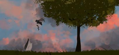 аниме, mo dao zu shi, лань, ванцзи, вэй, усянь, прыжок, дерево