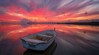 закат, лодка, озеро, мост