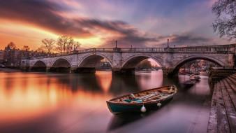 закат, лодка, река, мост