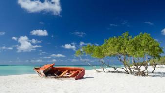 море, лодка, пляж, песок