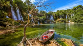 водопады, лодка, озеро