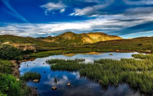 природа, реки, озера, горы, озеро, трава