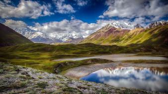 природа, реки, озера, облака, горы, озеро
