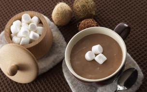 еда, кофе,  кофейные зёрна, чашка, зефир, клубки, ложка