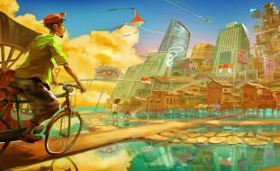 рисованное, города, велорикша, город, озера, дорожки