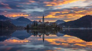 города, блед , словения, горы, озеро, остров, закат