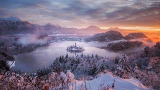 города, блед , словения, горы, озеро, остров, туман, зима