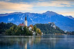 города, блед , словения, горы, озеро, остров