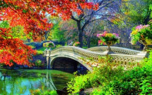 обои для рабочего стола 2560x1600 природа, парк, водоем, мостик, осень