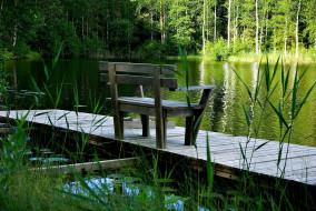 обои для рабочего стола 1920x1285 природа, реки, озера, лес, пруд, мостки, скамейка
