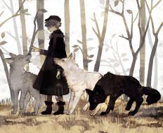 аниме, животные,  существа, мальчик, волки