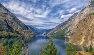 природа, реки, озера, горы, озеро, деревья, небо, облака