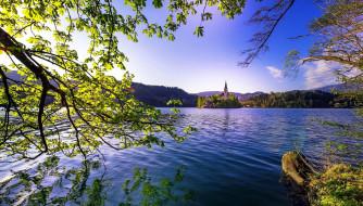 города, блед , словения, горы, озеро