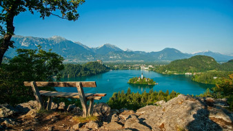города, блед , словения, горы, озеро, панорама