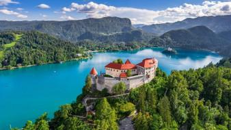 города, блед , словения, горы, озеро, замок, панорама