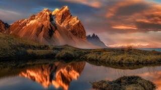 природа, горы, трава, облака, закат, озеро