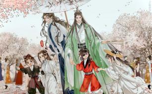 аниме, unknown,  другое , персонажи, дети, зонт, цветение, весна