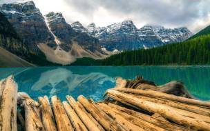природа, реки, озера, горы, лес, озеро, бревна