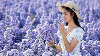 девушки, - азиатки, азиатка, шляпа, платье, цветы
