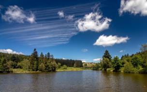 природа, реки, озера, река, деревья, облака