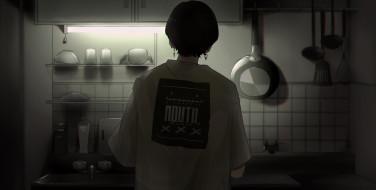 аниме, unknown,  другое , парень, футболка, кухня, свет