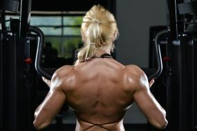 спорт, body building, бодибилдинг, женщина, спина, тренажер, блондинка