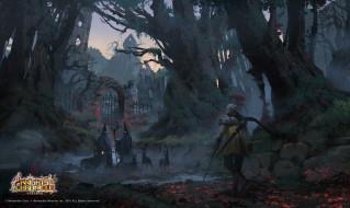 ворота, деревья, существа