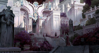 дворец, сад, лестница, люди
