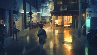 аниме, город,  улицы,  интерьер,  здания, девушка