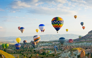 авиация, воздушные шары дирижабли, небо, облака, воздушные, шары, полет