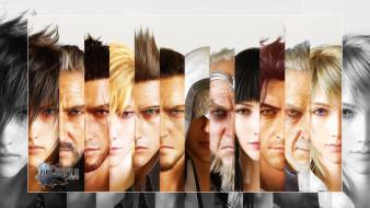 видео игры, final fantasy xv, мужчины, девушки, лица, фон, взгляд