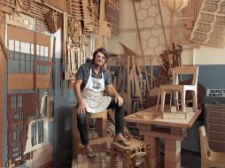 мужчины, - unsort, мастер, стулья, дерево, очки, фартук, стол
