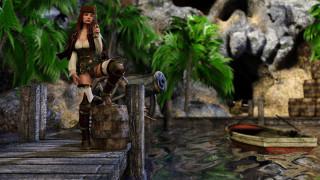 3д графика, фантазия , fantasy, девушка, фон, взгляд, униформа, пистолет, пират, лодка