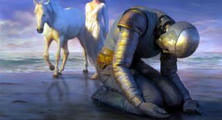 фэнтези, роботы,  киборги,  механизмы, киборг, девушка, лошадь, море, берег