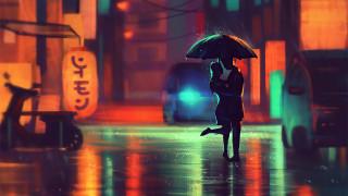 векторная графика, люди , people, reindeer, deer, minimalist, artist, artwork, digital, art, сладкая, парочка, силуэт, ночь, двое, зонт, дождь, азия