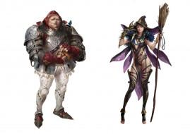 фэнтези, люди, рыцарь, ведьма, метла