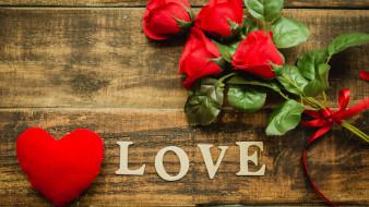 праздничные, день святого валентина,  сердечки,  любовь, сердце, алые, розы, лента, надпись