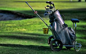 спорт, гольф, клюшки, поле, тележка, ведро