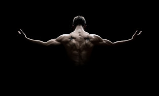 спорт, body building, тень, мышцы, спина, татуировки, мужчина