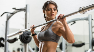 спорт, body building, фитнес, брюнетка, девушка, гриф, штанги, спортзал