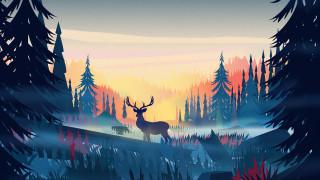 северный олень, олень, минимализм, минималист, художник, произведение искусства, цифровое искусство