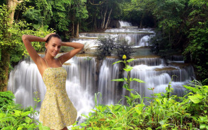 девушки, katya clover , катя скаредина, водопад, каскад, платье, поза