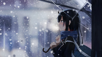аниме, зима,  новый год,  рождество, девушка