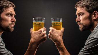 мужчины, - unsort, отражение, пиво, тату