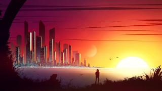 векторная графика, город , city, здания, небоскреб, город, минималист, минимализм, закат
