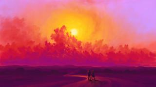 солнце, облака, пара, арт, цифровое искусство