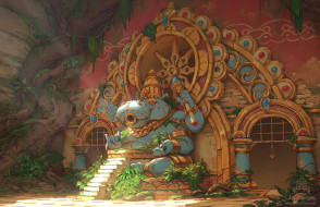 аниме, город,  улицы,  интерьер,  здания, храм, статуя
