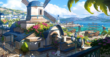 аниме, город,  улицы,  интерьер,  здания, люди, море, корабли