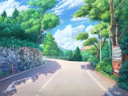 аниме, город,  улицы,  интерьер,  здания, дорога
